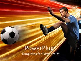 PowerPlugs: PowerPoint template with colorful background with soccer player kicking ball