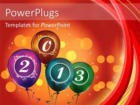 PowerPlugs: PowerPoint template with colorful balloons with year 2013 over orange background