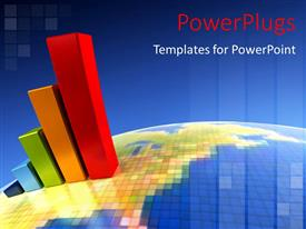PowerPlugs: PowerPoint template with colorful bar chart on a blue graphical earth globe
