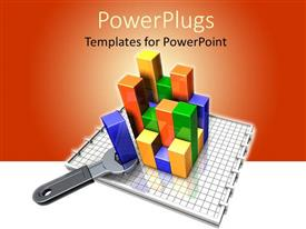 PowerPoint template displaying colorful bar charts with a spanner on a graph book