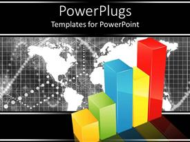 PowerPoint template displaying colorful bar graph chart with black and white map in background