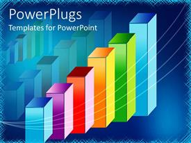 PowerPlugs: PowerPoint template with colorful bar graph showing upward growth