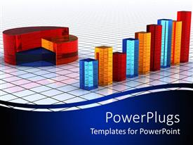 PowerPlugs: PowerPoint template with colorful bars and pie sitting on tiled floor