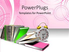 PowerPoint template displaying colorful books arranged with alarm clock over colorful background