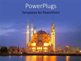 PowerPoint template displaying the colorful and bright Adana mosque with a view of the sea