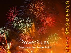 PowerPlugs: PowerPoint template with colorful bursting fireworks on night sky happy new year