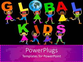 Template having colorful children carrying letters forming GLOBAL KIDS sign in black background