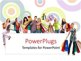 PowerPoint template displaying colorful circles over white background with shot of people after shopping