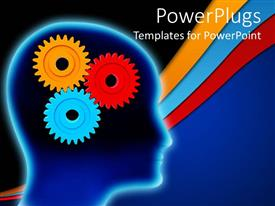 PowerPoint template displaying colorful cogwheels representing human brain in the head