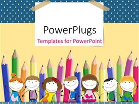 PowerPlugs: PowerPoint template with colorful crayons in background with happy kids lined up