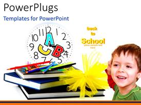 PowerPlugs: PowerPoint template with colorful crayons on book pile with letters on clock and young kid