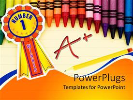 PowerPlugs: PowerPoint template with colorful crayons on lined paper with pencil and a+ grade and ribbon with number 1 winner