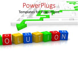 PowerPlugs: PowerPoint template with the word solution with a maze in background