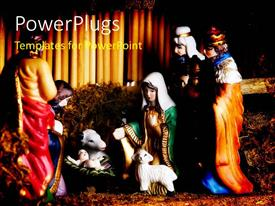 PowerPlugs: PowerPoint template with colorful depiction of Jesus Christ's birth in manger