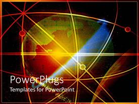 PowerPlugs: PowerPoint template with colorful earth globe in orbit with red yellow and orange lines