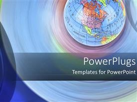 PowerPlugs: PowerPoint template with colorful earth globe on a round bluish hue background