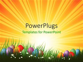 PowerPlugs: PowerPoint template with colorful Easter eggs  arranged in green grass and white flowers