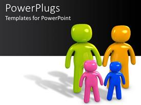 PowerPlugs: PowerPoint template with colorful family figures with two kids in white background