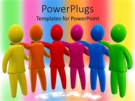 PowerPlugs: PowerPoint template with colorful figures holding each other with TEAM text in background