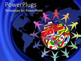PowerPlugs: PowerPoint template with colorful figures holding hands sitting around Planet Earth covered in various flags of countries of the world