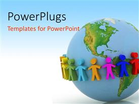 PowerPlugs: PowerPoint template with colorful figures surrounding Planet Earth, multicolored figures on globe representing concept of global communication