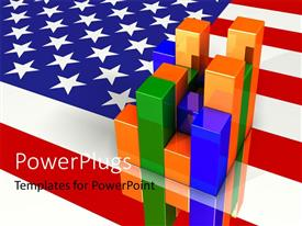 PowerPlugs: PowerPoint template with colorful financial bar chart over American flag in background
