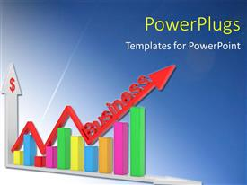 PowerPlugs: PowerPoint template with colorful financial chart with red business arrow over blue background