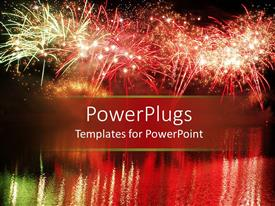 PowerPlugs: PowerPoint template with colorful fireworks in a night scenery reflected in the water