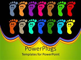 PowerPlugs: PowerPoint template with colorful footprints with happy faces on them in black background