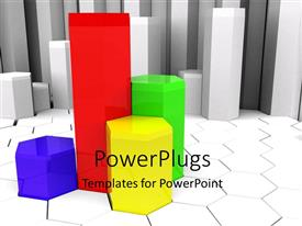PowerPlugs: PowerPoint template with colorful glass chart on white hexagon patterend background