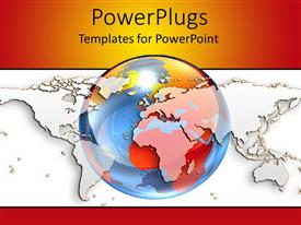 PowerPlugs: PowerPoint template with a colorful globe with map of the Earth in background