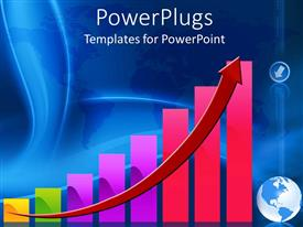PowerPlugs: PowerPoint template with colorful graphic chart with rising red arrow and globe world map on blue background