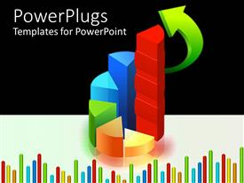 PowerPlugs: PowerPoint template with colorful graphs with green arrow