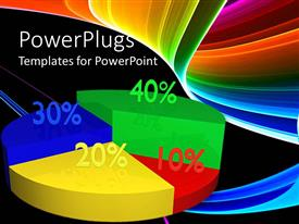 PowerPoint template displaying colorful green, red, yellow, blue pie chart with percentage on black background with rainbow colored waves
