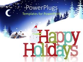 PowerPlugs: PowerPoint template with colorful Happy Holidays sign and snowman with houses and tree in the background