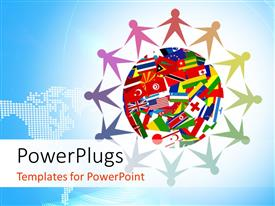 PowerPlugs: PowerPoint template with colorful icon made up of diverse people from all over the world around the globe with different flags inside and world map in the background