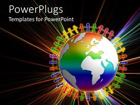 PowerPlugs: PowerPoint template with colorful icons of people standing round earth globe