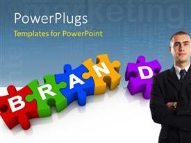 PowerPlugs: PowerPoint template with colorful jigsaw forming the word Brand with marketing keywords in background and businessman in foreground