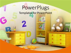 PowerPlugs: PowerPoint template with colorful kids room with brown book, toys and desks