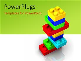 PowerPlugs: PowerPoint template with colorful Lego toy blocks on green background