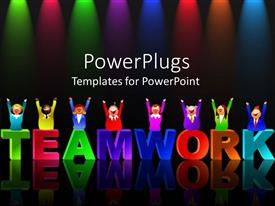 PowerPlugs: PowerPoint template with colorful letters form word teamwork with reflection on black background