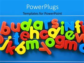 PowerPlugs: PowerPoint template with colorful lower case letters on blue background