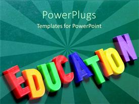 PowerPoint template displaying colorful magnetic letters spelling EDUCATION in dark green background