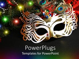PowerPoint template displaying colorful masquerade mask surrounded by lights