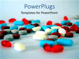 PowerPlugs: PowerPoint template with colorful medical pills and capsules on sky blue background