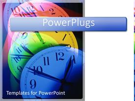 PowerPlugs: PowerPoint template with colorful multicolored clocks showing the pass of time with white background