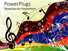 PowerPoint template displaying colorful Music