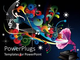 PowerPlugs: PowerPoint template with colorful music notes and pink old record player in blue background