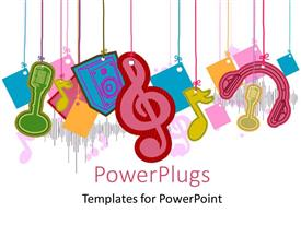 PowerPoint template displaying colorful music symbols, head phones, mice over white background