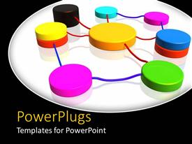 PowerPlugs: PowerPoint template with colorful network connections on white surface with black background